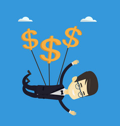 business man flying with dollar signs vector image