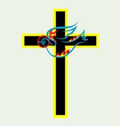 Cross n dove Holy spirit vector image