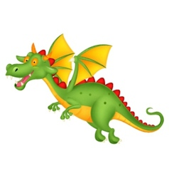 Cute dragon cartoon flying vector