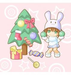 new year white rabbit kawaii vector image vector image