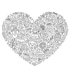 Set of Wedding cartoon doodle objects vector image