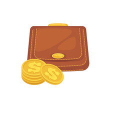 wallets with money shopping purse cas vector image vector image