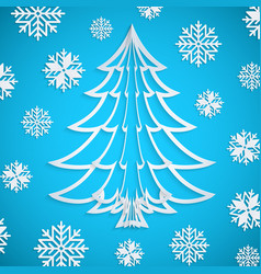 white paper christmas tree on the blue vector image vector image