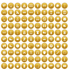 100 sport accessories icons set gold vector