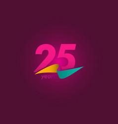 25 years anniversary celebration purple ribbon vector