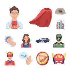 A fantastic superhero cartoon icons in set vector
