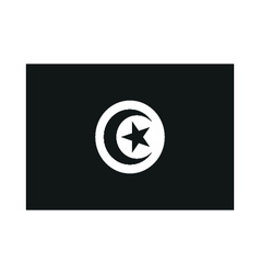 A flag of Tunisia monochrome on white background vector image