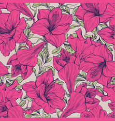 Amaryllis flower seamless floral pattern vector