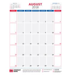 August 2018 calendar planner design template vector