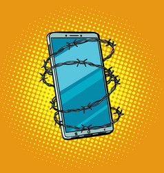 barbed wire and telephone concept of freedom vector image