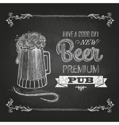 Beer in mag chalk drawing vector