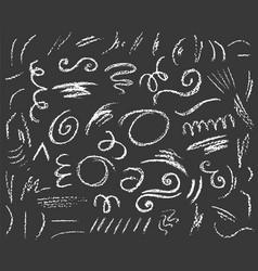 Big set chalk lines and twirls on dark vector