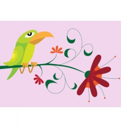 bird sitting on flower vector image