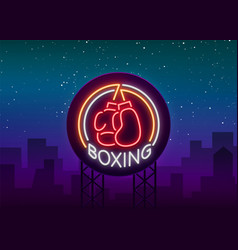 Boxing logo neon sign emblem is isolated vector