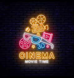bright neon sign for the cinema vector image