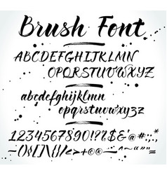 Brush alphabet with numbers and punctuation vector