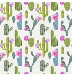 Cactus Background Seamless Pattern Exotic Plant vector image