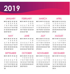 Calendar for 2019 year week starts monday vector