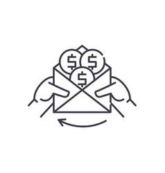 cash payments line icon concept cash payments vector image