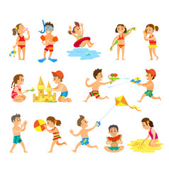 Children play in sand and have fun on beach set vector
