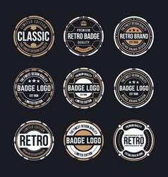 Circle vintage and retro badge design collection vector