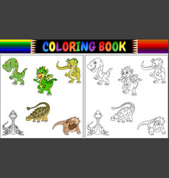 coloring book with dinosaur cartoon collection vector image