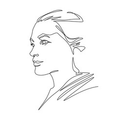 Continuous one line drawing woman face abstract vector