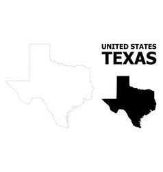Contour dotted map texas state with name vector