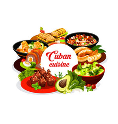 cuban national cuisine round banner vector image