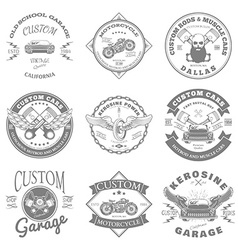 Custom garage label and badges design vector