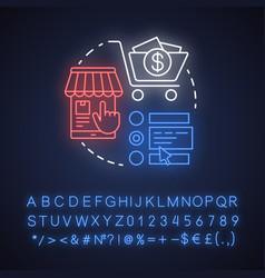 Customer order neon light concept icon online vector