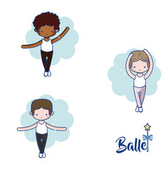 Cute boys ballet dancers cartoons vector