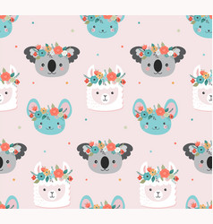 cute koala llama and mouse heads with flower vector image