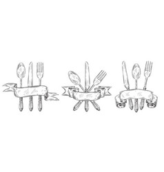 cutlery with ribbon vintage table setting vector image