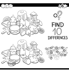 Differences game with sweet food vector