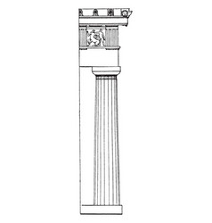 Doric column ionic vintage engraving vector