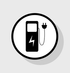 Electric car charging station sign flat vector