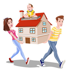 Family carrying a house vector