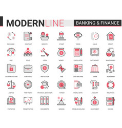 finance and banking flat thin red black line icons vector image