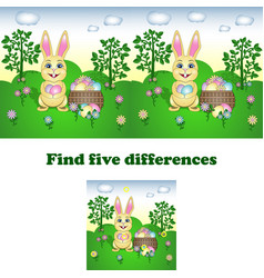 find the five differences vector image