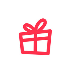 Gift icon outline line logo download vector