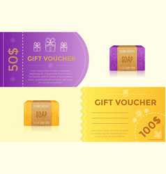 gift voucher template for handmade soap vector image