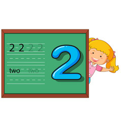 Girl showing number two on chalkboard vector