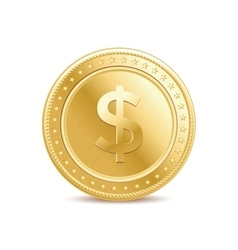 Golden dollar coin vector