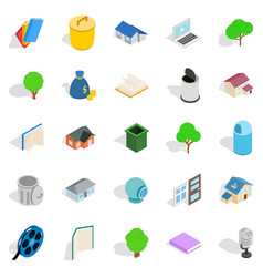 Great house icons set isometric style vector