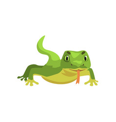 Green lizard amphibian animal cartoon vector