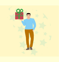 guy with a gift vector image