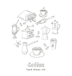 Hand drawn coffee set ingredients and vector