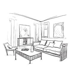 Hand drawn room interior Furniture sketch vector image