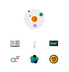 icon flat study set of solar system nuclear vector image